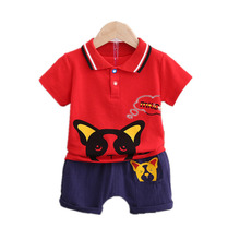 New Fashion Summer Baby Girl Clothes Children Boys Cotton Cartoon T Shirt Shorts 2Pcs/set Toddler Casual Clothing Kids Tracksuit цена 2017