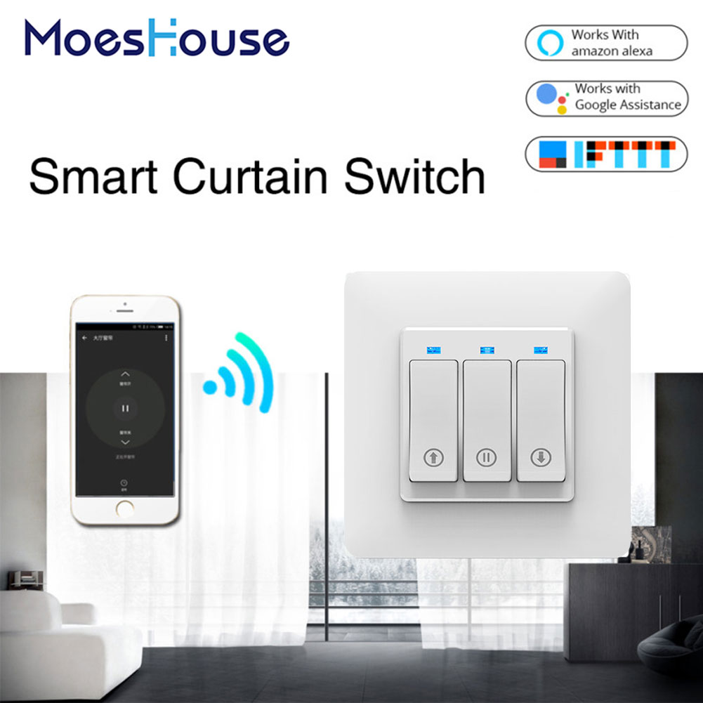 WiFi Smart Push Button Curtain Roller Blinds Shutter Switch Tuya Remote Control Motorized Motor Works With Alexa Google Home