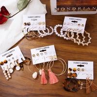 2019 Vintage perle torsion grand cercle boucles d'oreilles ensemble pour les femmes mode géométrique Imitation perle cristal boucles d'oreilles bijoux