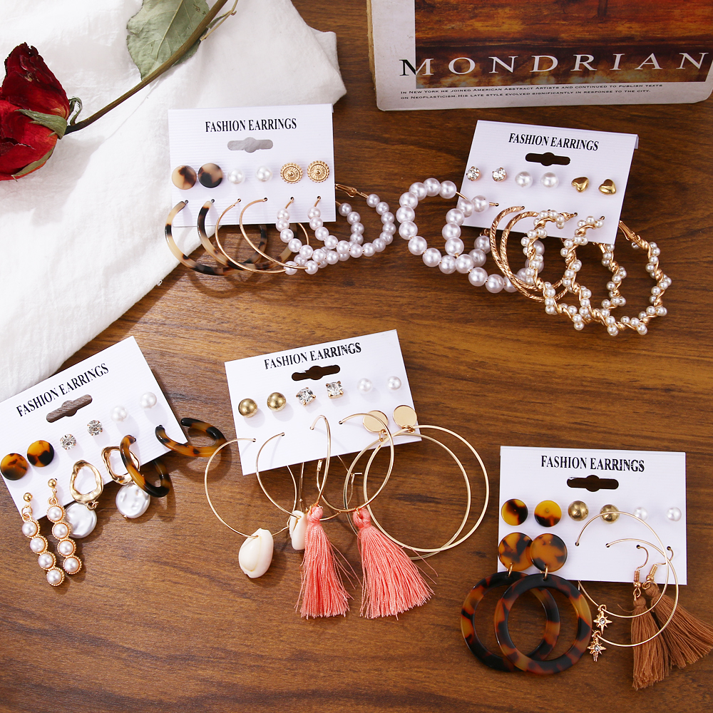2020 Vintage Pearl Twist Big Circle Earrings Set for Women Fashion Geometric Imitation Pearl Crystal Earrings Jewelry