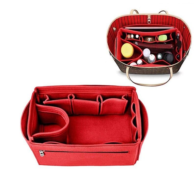 Make Up Organizer Felt Cloth Handbag Organizer Insert Bag Travel Inner Purse Portable Cosmetic Bags Fits Speedy Neverfull