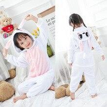 Animal Pajamas Sets Winter Flannel Cartoon Sleepwear Unicorn Pajamas Animal Unicornio panda Jumpsuit Children onesie 4-12Yrs