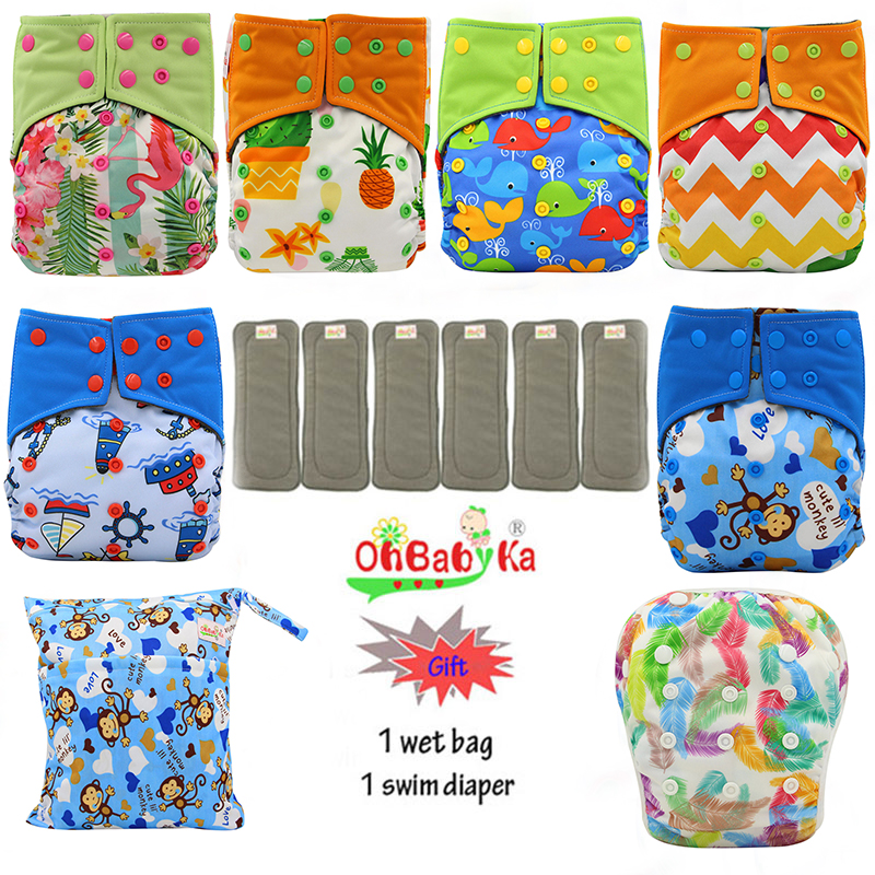 OhBabyKa Reusable All-in-two Pocket Diaper Bamboo Charcoal Washable Baby Cloth Diaper Cover +6pcs Bamboo Insert Baby Nappies