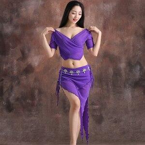 Image 2 - Conjunto de danza del vientre de hilo para mujer, top de manga corta con cuello de pico profundo + falda, 2 uds., traje de danza del vientre, conjunto de ejercicio para mujer, 4 colores M L