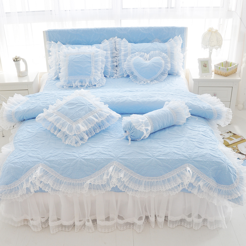100%Cotton Thick Quilted lace Bedding set King queen Twin size Bed set Princess Korean Girls White Pink Bed skirt set Pillowcase