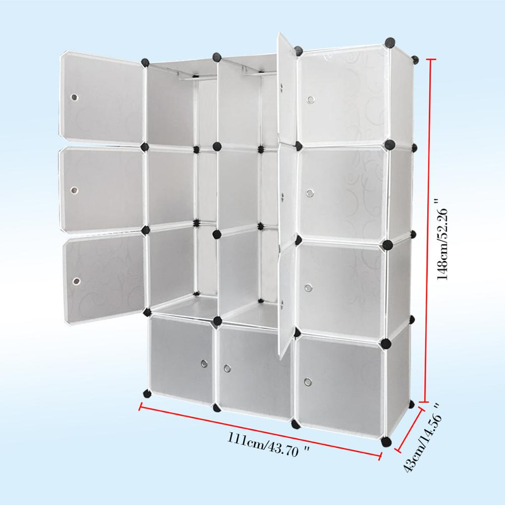 58 3 Clear 12 Cubes Portable Clothes font b Closet b font Wardrobe Large Storage Organizer