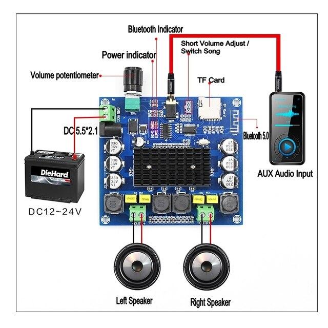 XH A314 12V 24V Bluetooth 5.0 TPA3116 Điện Kỹ Thuật Số Bảng Mạch Khuếch Đại 2X50W Âm Thanh Stereo AMP Mô Đun hỗ Trợ Thẻ TF AUX