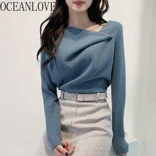 Oceanlove puxar femme hiver sólido escritório senhora elegante outono inverno blusas feminino irregular coreano chique pullovers feminino 18867
