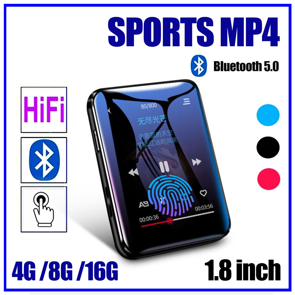 Multi-Media MP3/MP4 Player with Bluetooth 1.8-inch Touch Screen HiFi Player 4/8/16G Music Player 256G TF Card FM Video Player image