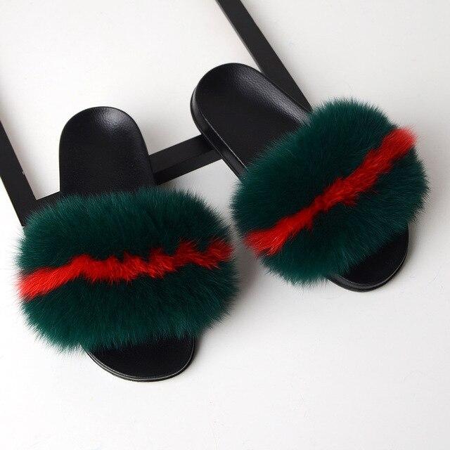 Sarsallya chinelos de pele mulher real pele de raposa slides casa peludo sandálias planas feminino bonito fofo casa sapatos mulher marca luxo 2021 3