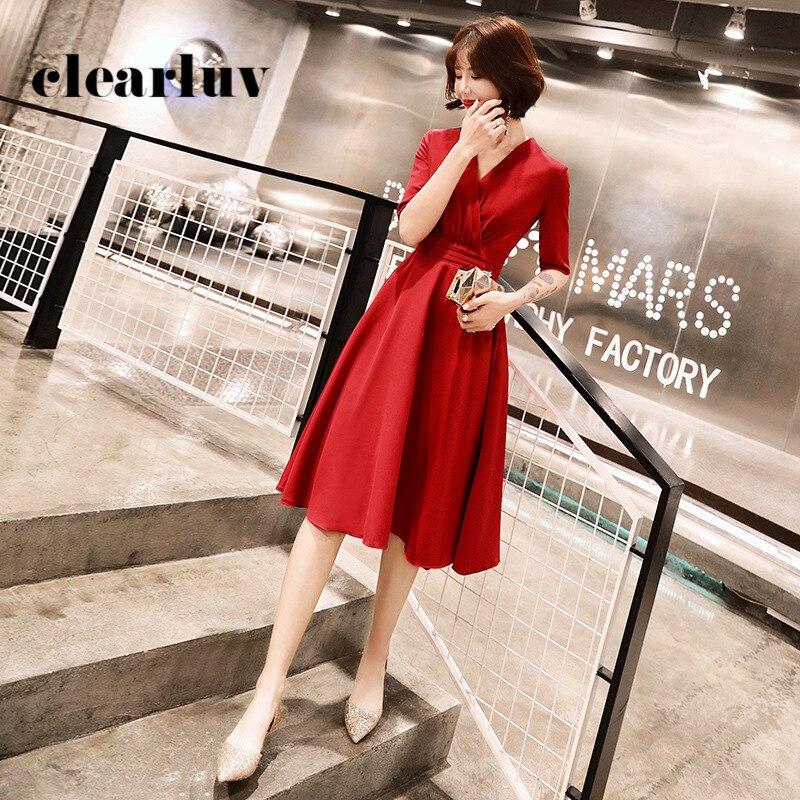 Formal Evening Dress DR295 Solid A-Line Banquet Gowns For Women V-Neck Half Sleeve Formal Dresses Burgundy Elegant Vestidos 2020