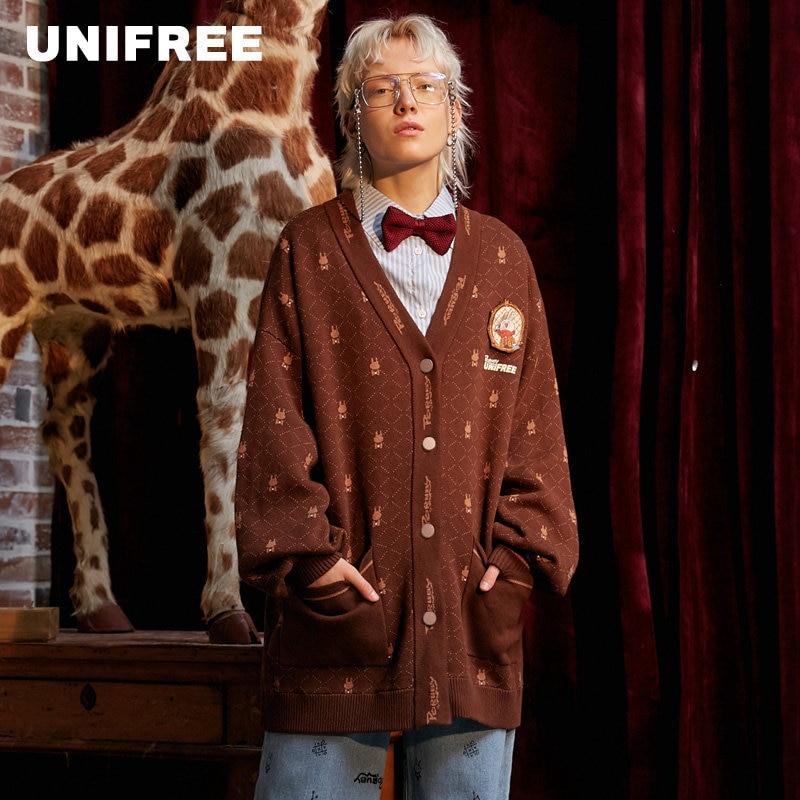 UNIFREE Sweater Autumn Fashion Leisure Long Sleeve Single-row Button Loose Comfortable Knitted Sweater U193N523EE