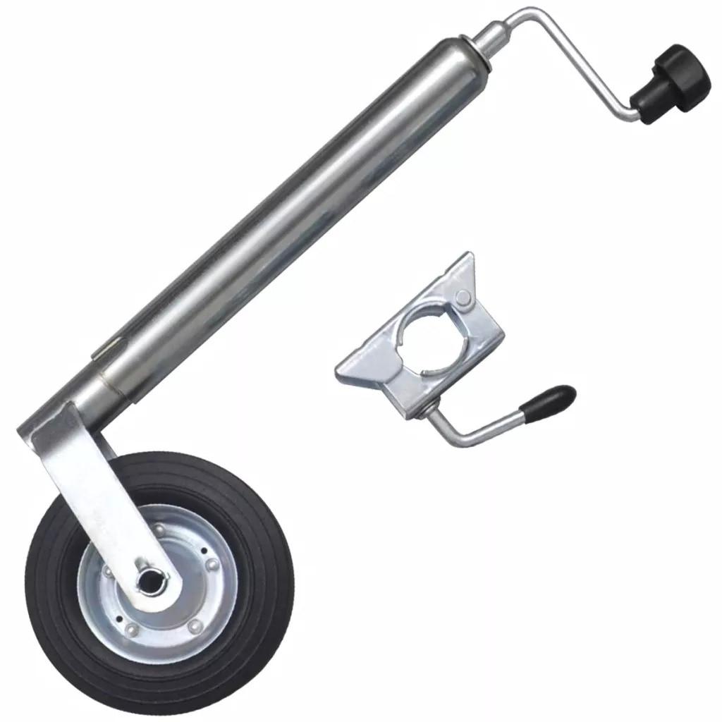 VidaXL Galvanised Steel 48mm Jockey Wheel With 1 Split Clamp For Small Medium Trailers Caravans