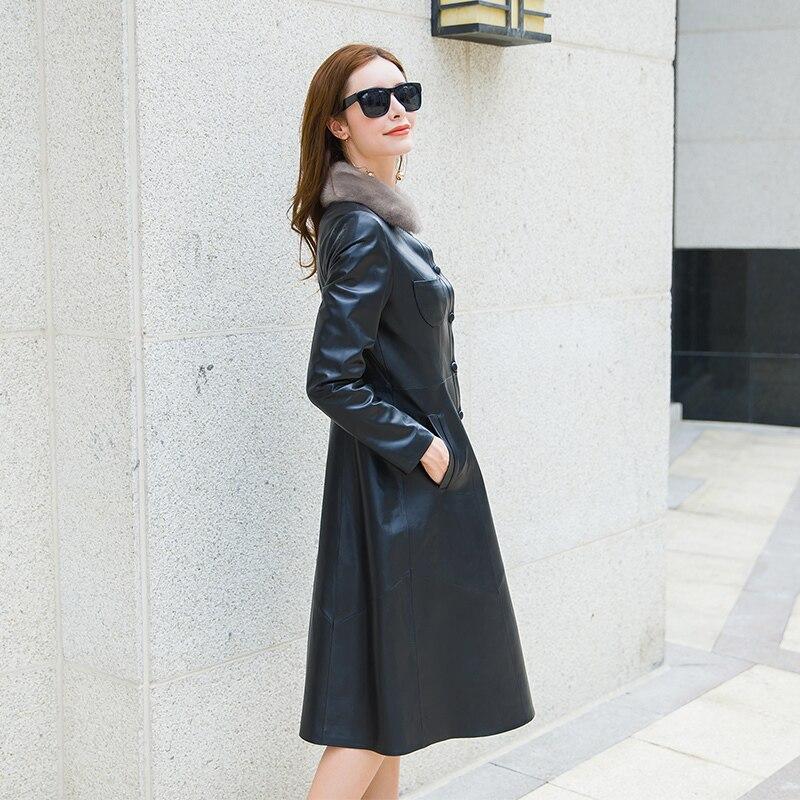 Coat Fur Women's Real Leather Jacket Winter Coat Women Thicken Sheepskin Coat Female Mink Fur Collar Windbreaker MY4269