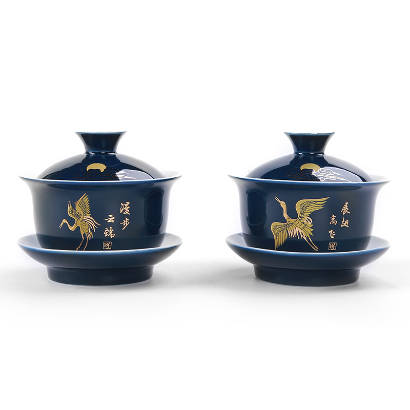 Noble Blue Outline In Gold Tea Tureen Cup,cover Bowl Tea Set Gaiwan Tea Porcelain Pot Set Travel Beautiful Kettle 150ml