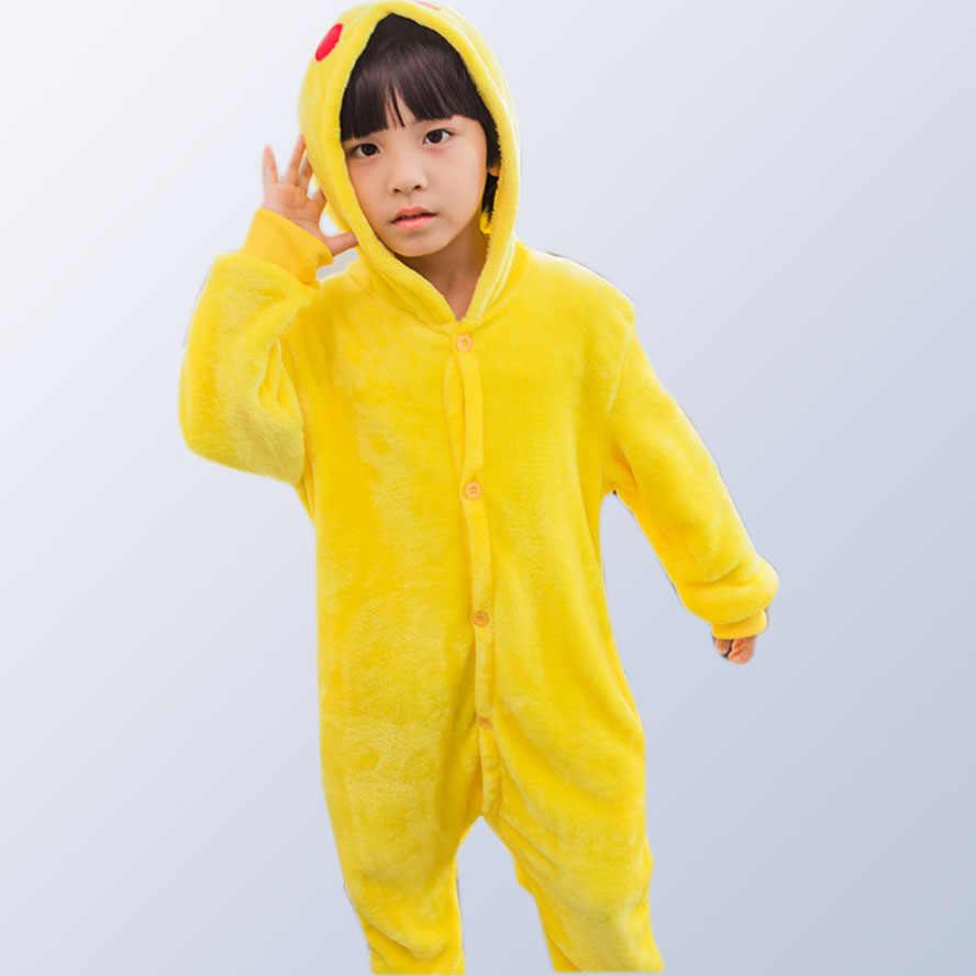 Детские пижамы, пижама кигуруми с животным, единорогом, мозаика с человеком-пауком, Пикачу, фланелевая Детская Пижама с капюшоном для мальчиков и девочек, костюм для косплея