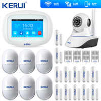 Neue Ankunft KERUI Touch Screen TFT Farbe Display WIFI GSM Alarm Home Alarm Sicherheit Tür Öffnen Erinnerung Wifi IP Kamera