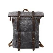 Vintage Leather Canvas Backpacks For Men Large CapacityTravel Bag Waterproof Vintage Daypacks Retro Teenager School Backpack стоимость