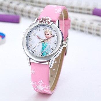Elsa Watch Girls Elsa Princess Kids Watches Leather Strap Cute Children's Cartoon Wristwatches Gifts for Kids Girl Frozen Clock