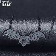 2021 Fashion Gothic Vampire Bat Stainless Steel Necklaces for Women Black Color Choker Necklace Jewelry gargantilha N657S03