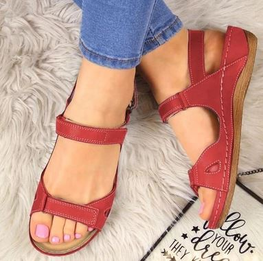 YEELOCA 2020 Summer Open Toe Solid Faux Leather Orthopedic Women Shoes Casual Platform Rome DS055