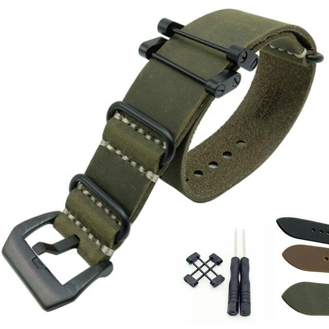 Crazy Horse pulsera de reloj militar de cuero genuino, banda y adaptadores para Suunto Core para Suunto TRAVERSE Series y herramienta