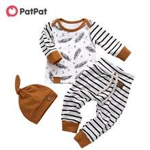 Patpat 2021 novo outono e inverno 3 peças de manga longa listrado bebê algodão outfit bebê da criança menino define roupas do bebê menino