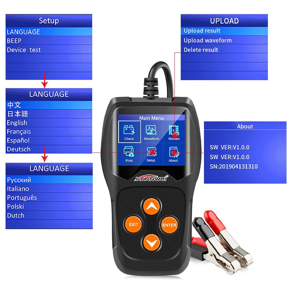 KW600 2.4 Inch 12V <font><b>Car</b></font> <font><b>Battery</b></font> Tester Automotive Load <font><b>Car</b></font> Digital <font><b>Battery</b></font> Analyzer Quick Cranking Charging <font><b>Diagnostic</b></font> <font><b>Tool</b></font> image