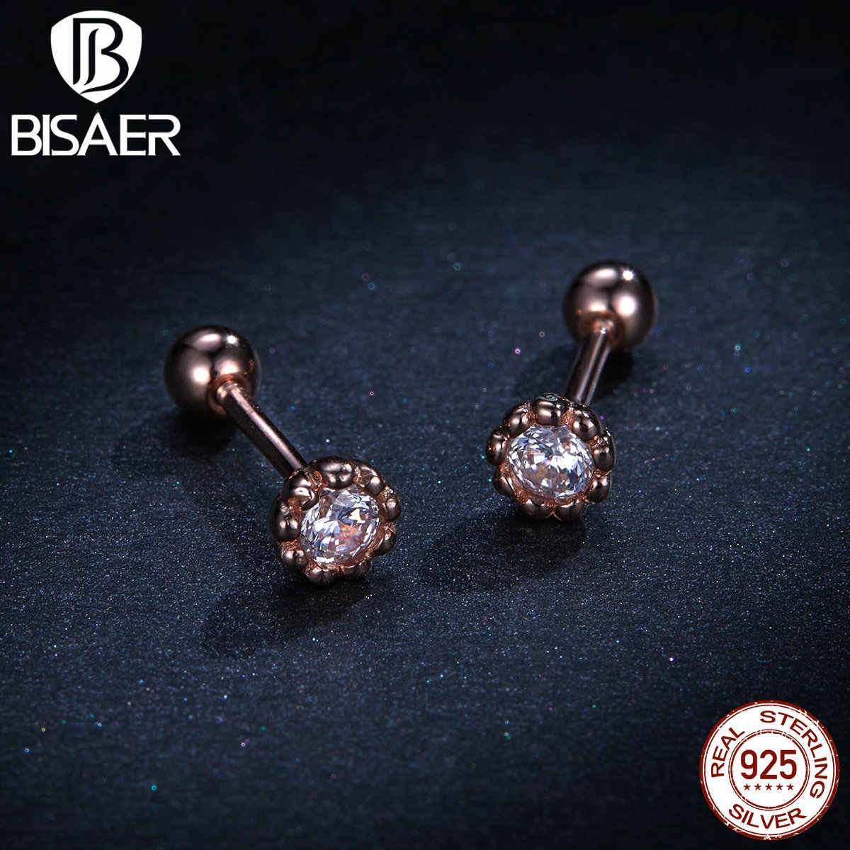 Wedding Earrings BISAER 925 Sterling Silver Clear Cubic Zircon Exquisite Stud Earrings for Women Engagement Jewelry EFE219
