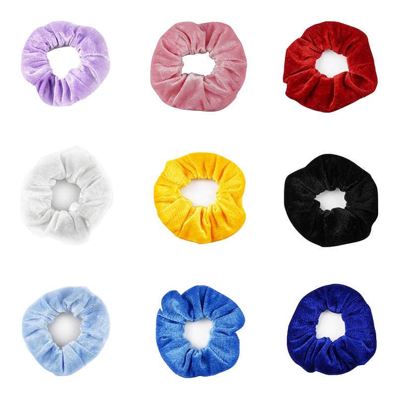 27 Warna Sifon Lembut Beludru Kuning Rambut Scrunchies Bunga Pegangan Loop Pemegang Elastis Hitam Ikat Wanita Rambut Aksesoris