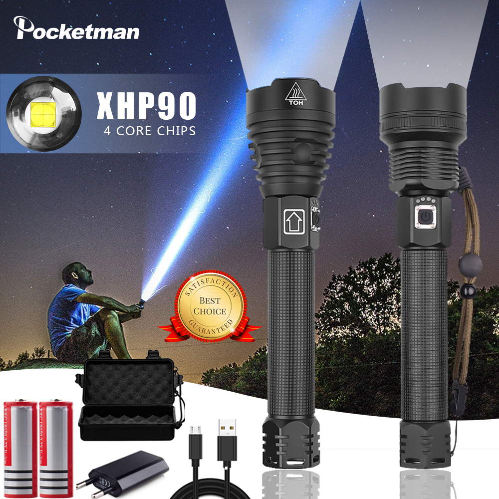 The most powerful <font><b>LED</b></font> XHP90 XHP70.2 flashlight XLamp Zoom <font><b>Torch</b></font> USB rechargeable tactical <font><b>lights</b></font> outdoor camping hunting <font><b>lights</b></font> image