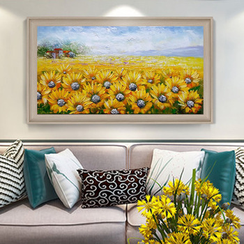 Hand-painted Oil Painting Van Gogh Sunflower Painting The Living Room Decorative Horizontal Version Of European Background Wall