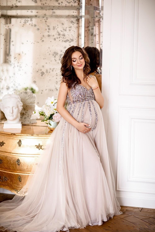 2019 robes de soirée de maternité robes de douche de bébé avec jupe en Tulle a-ligne robe de bal sans manches col en v Tulle Sequin robes de soirée - 4