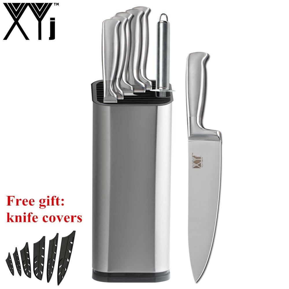 XYj 8pcs Conjunto Faca De Aço Inoxidável Punho Confortável Chef Faca Afiador de facas de Lâmina Afiada de Cozinha Stand Holder Cozinhar Ferramentas