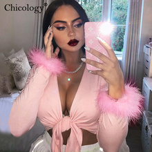 Chicology fur long sleeve lace up T-shirt women v neck sexy