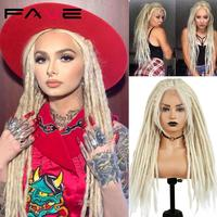 Fave Lace Front Hand Knit Parting Felts Dreadlocks 613 Blonde Black High Temperature 33*28 Synthetic Crochet Braid Wig For Women