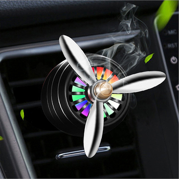 LED Car air freshener Conditioning Alloy Auto Vent Outlet Perfume Clip Fresh Aromatherapy Fragrance Atmosphere Light image