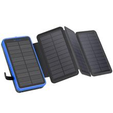 Foldable Solar Power Bank 20000mAh 10000mAh Waterproof 4 Sol