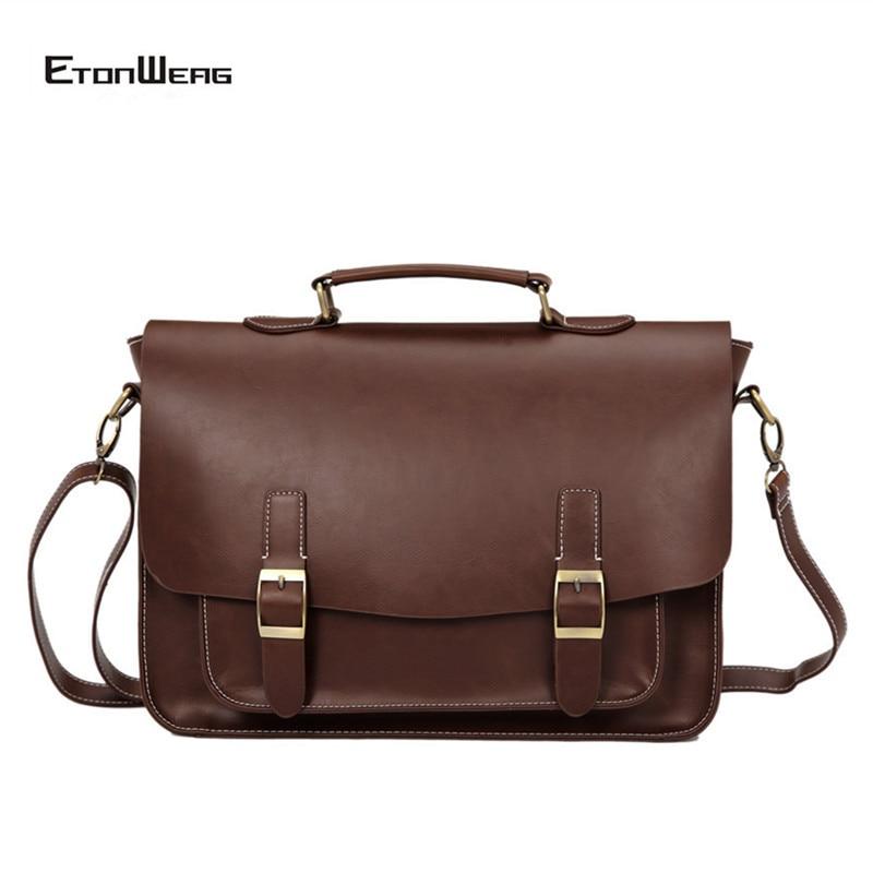 Business Office Men Briefcase Designer Brand Leather Tote Male Large Capacity Laptop Shoulder Bags Women Vintage Travel Handbag