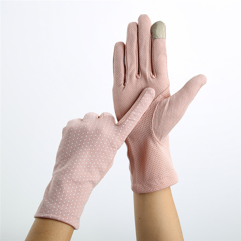 Howfits Spring Summer Driving Gloves Women Touch Screen Thin Cotton Gloves Lace UV Sun Against Non Slip Riding Car Gloves