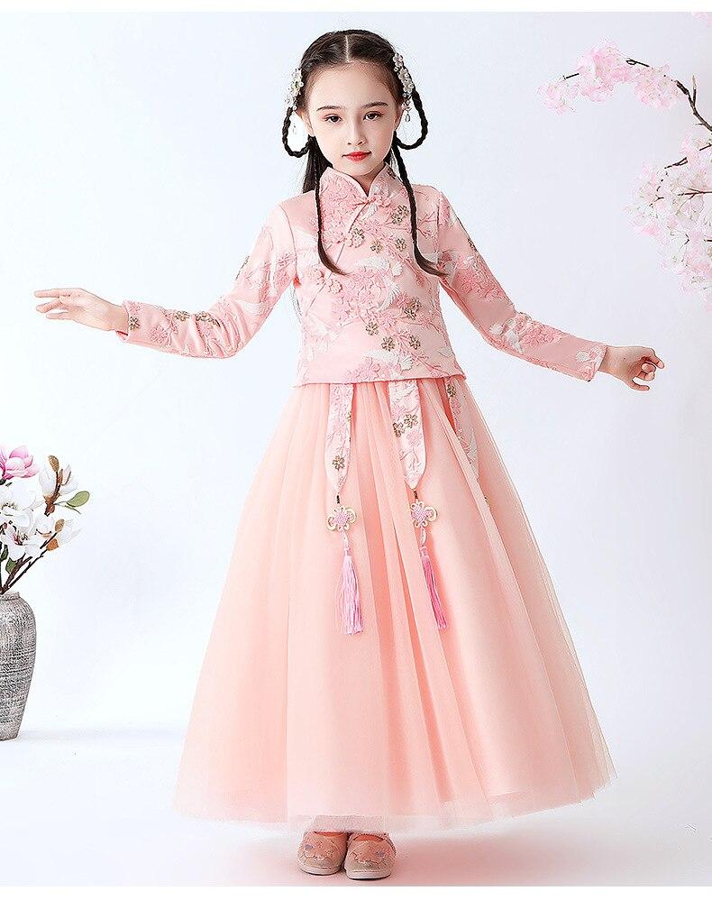 Girl Embroidered Princess Dress Vestidos Girls Cheongsam Dress Performance Dress Winter Plush Keep Warm Dresses New Year's Dress