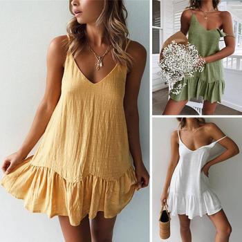 Spaghetti Strap Dresses Off Shoulder Women Summer Dress 2020 White Shift Dress Ruffle Sexy Sundress Mini Cotton Linen Vestidos