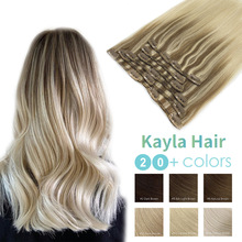 Kayla Professional Clip In Hair Extension 100% Human Hair 12