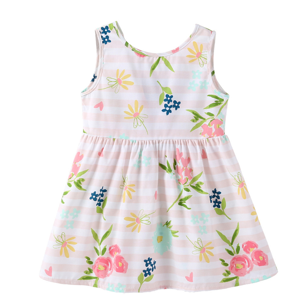 1-7 Years Baby Girls Sleeveless Flower Print Dresses Clothes Kids Summer Princess Dress Children Party Ball Pageant Dress Outfit 2
