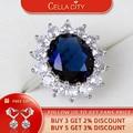 Женское серебряное кольцо с сапфиром, овальное ювелирное изделие с драгоценным камнем, подарок для принцессы на годовщину