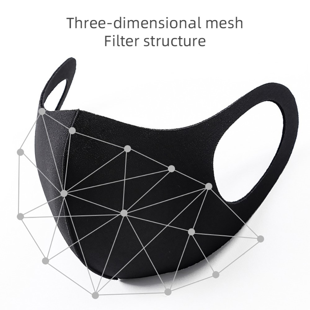 Sponge Face Mask Black Breathable Mouth Mask Reusable Anti Pollution Face Shield Wind Proof Mouth Cover Unisex Sponge Face Mask