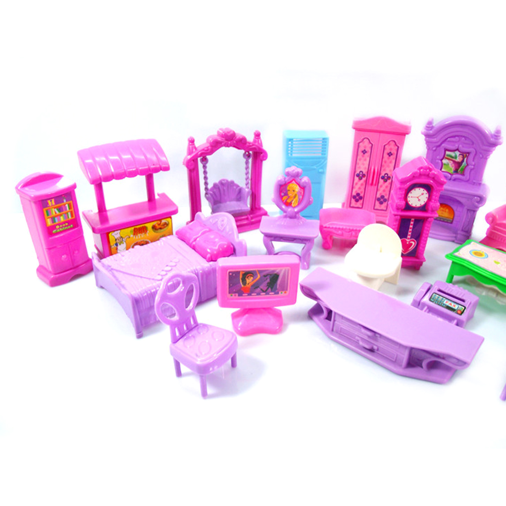 22Pcs Dollhouse Play Set Plastic Furniture Miniature Rooms Baby Kids Pretend Play Toys Furniture Toy Pretend DollHouse #10