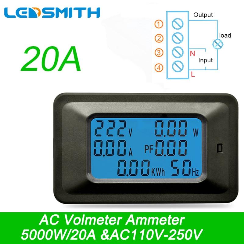 AC 22000W 250V 100A Multi-Função Power Monitor de Tensão Digital Atual Metros indicador de Fator de Potência De Energia De Frequência metro