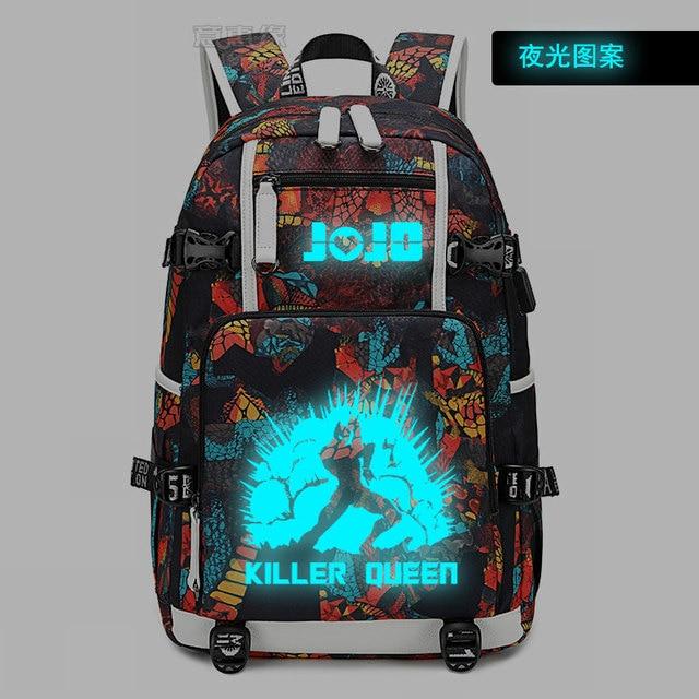 JoJo's Bizarre Adventure backpack For Teenager Boys Printing laptop schoolbag Men Travel bags USB luminous Oxford Backpacks