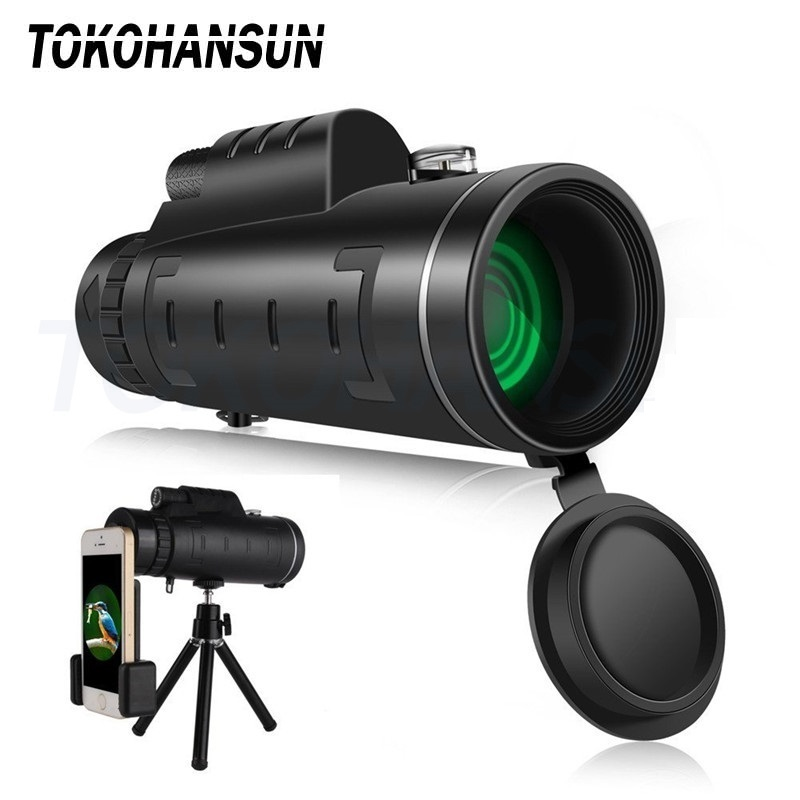 Tokohansun 40x60 Monocular Telescope Zoom Lens For Iphone Smartphone Mobile Camera Lens With Compass For Camping Hiking Fishing